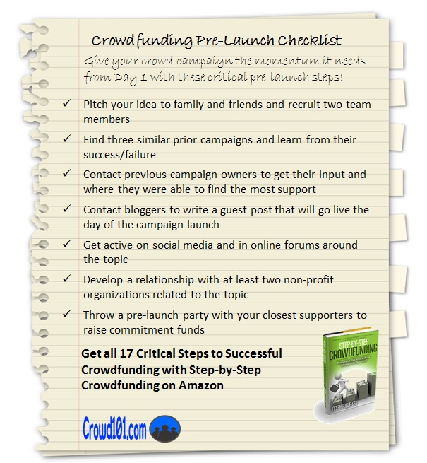 crowdfunding pre-launch checklist infographic
