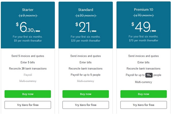 xero accounting software pricing