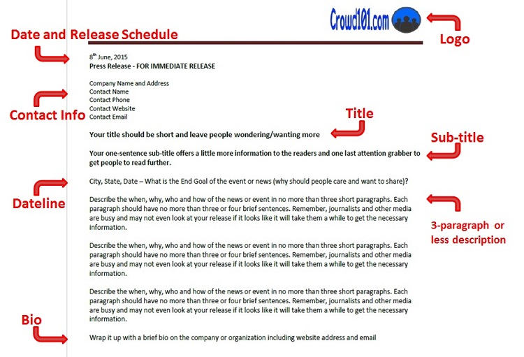 Crowdfunding Press Release Template