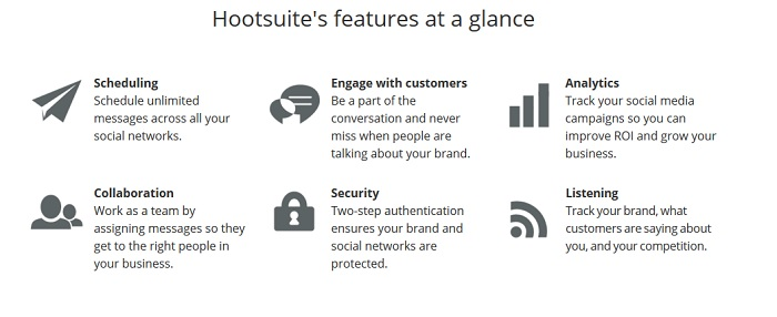 hootsuite features for social media