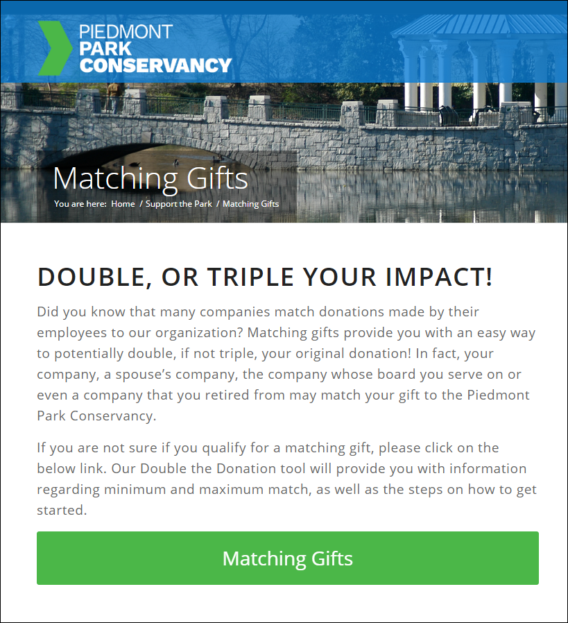 Double the Donation-Dedicated Matching Gift page