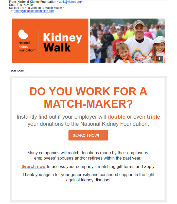 Double the Donation-Matching Gifts Email