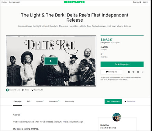 Delta Rae used Kickstarter for a successful crowdfunding campaign.
