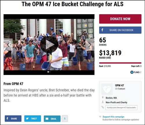 An example of a successful crowdfunding page on Fundly for the viral trend ALS ice bucket challenge.