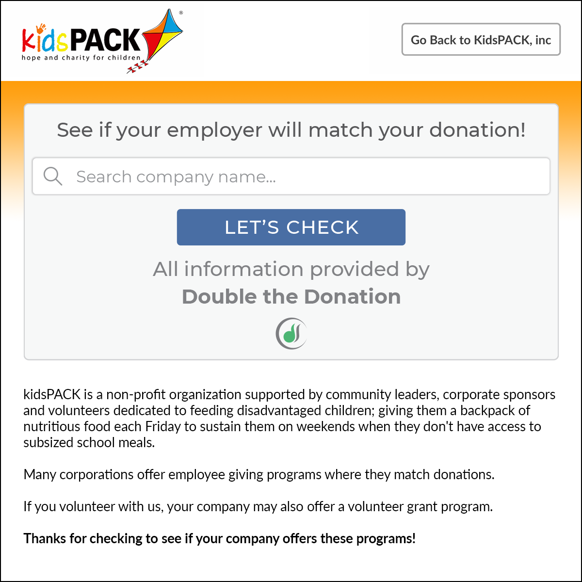 kidsPACK does a great job promoting matching gifts.