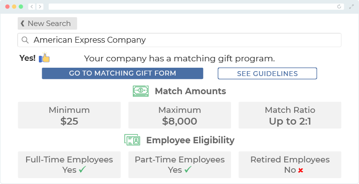 American Express offers one of the top matching gift programs.