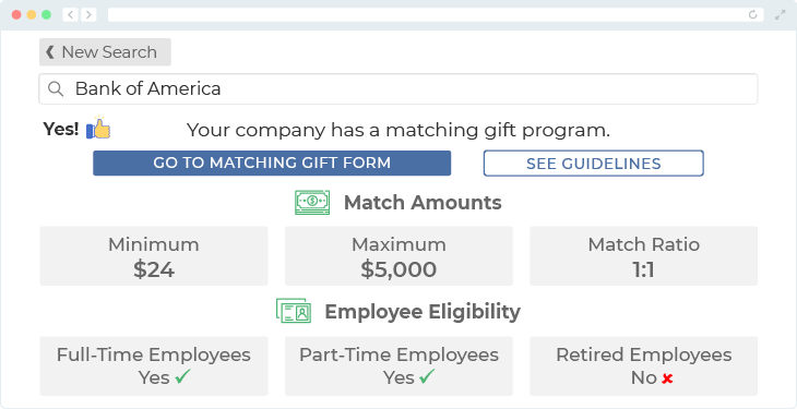 Bank of America offers one of the top matching gift programs.
