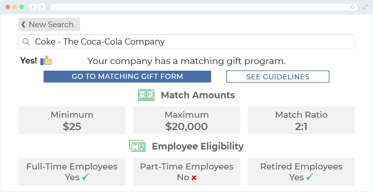 The Coca-Cola Company offers one of the top matching gift programs.
