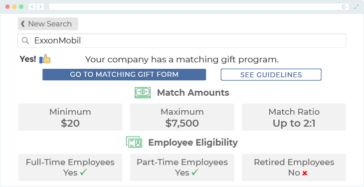 ExxonMobil offers one of the top matching gift programs.