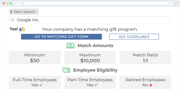 Google offers one of the top matching gift programs.
