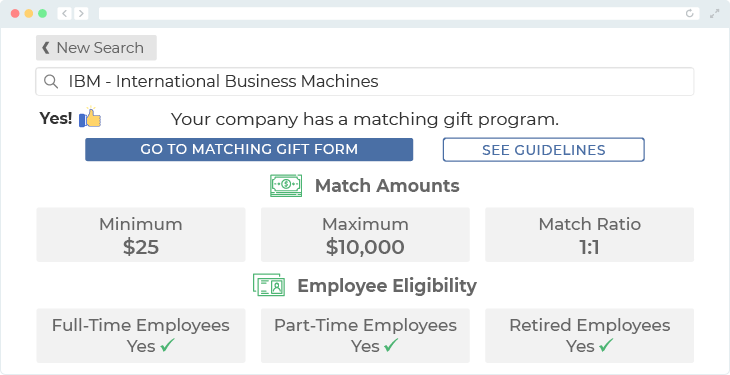 IBM offers one of the top matching gift programs.