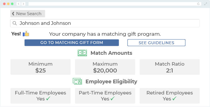 Johnson & Johnson offers one of the top matching gift programs.