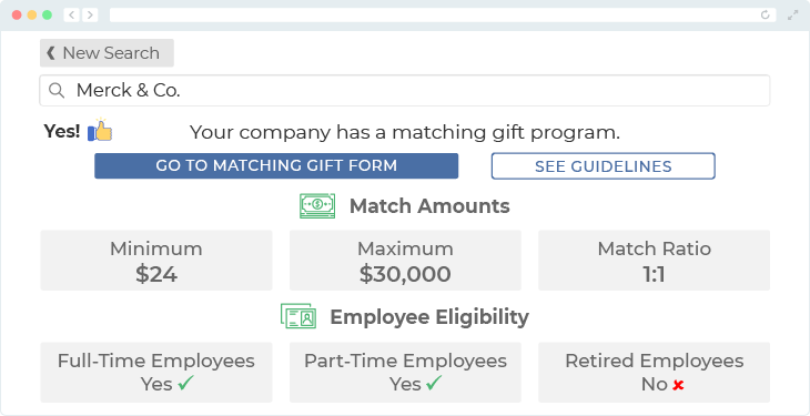 Merck offers one of the top matching gift programs.