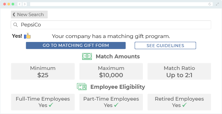 PepsiCo offers one of the top matching gift programs.