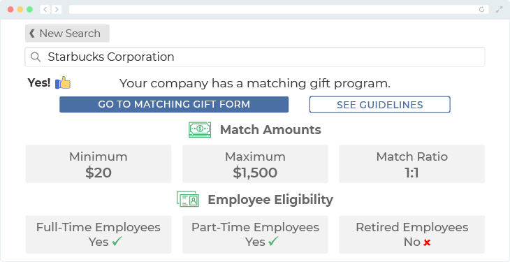 Starbucks offers one of the top matching gift programs.